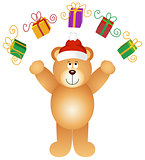 Christmas teddy bear juggling gifts