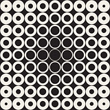 Vector Seamless Grid of Circles Retro Pattern