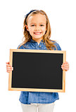 Girl holding a chalkboard