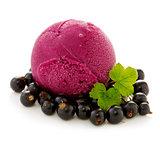 Ice cream and fresh black currants.