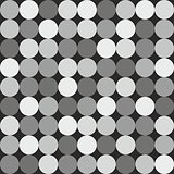 Tile vector pattern with big white and grey polka dots on black background