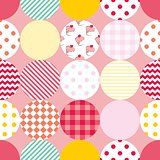 Tile patchwork vector pattern with polka dots on pink background