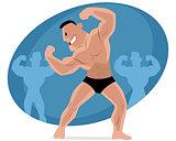 Funny bodybuilder posing