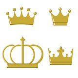 Golden crowns for prince and princess, isolated vector