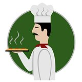 Pizza chef icon, isolated vector