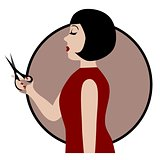 Profession hairdresser woman, isolated vector