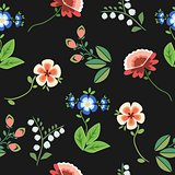 Seamless pattern floral embroidery black, vector
