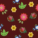 Seamless pattern floral embroidery red, vector