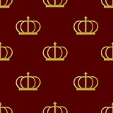Seamless pattern golden crown emperor, vector