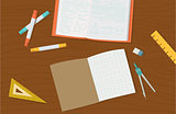 Concept of high school object and college education items with studying  educational elements. Top view  desk background. Flat icons vector collection.