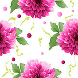 Red Dahlia flower seamless background