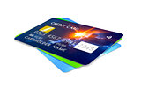 three credit cards for payment