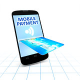 smartphone and a credit card for mobile payment