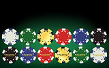 Poker chips set. Vector illustration