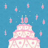 Number Candle and Cake Vector Illustration