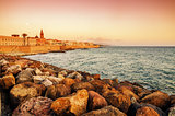 Alghero, Sardinia: skyline with defensive walls in the sunset