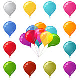 Colorful festive balloons set