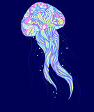 colorful jellyfish on blue background.