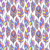 pattern with colorful abstract feathers