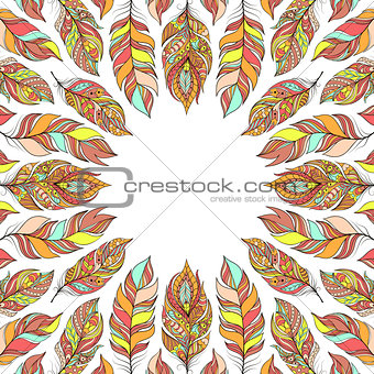 frame with abstract colorful feathers.
