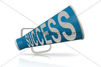 Blue megaphone with success word
