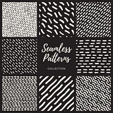 Set of Eight Vector Seamless Lines Patterns Collection