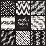 Set of Nine Vector Seamless Lines Patterns Collection