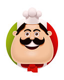 Vector Italian chef with mustache icon