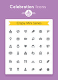 Vector line celebration and party tiny icon set