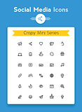 Vector line social media tiny icon set