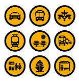social transport yellow icons