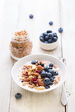 Granola yogurt breakfast.