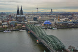 Cologne Daytime Landscape with Cathedral, TV Tower, Hohenzoller Bridge, and River
