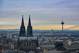 Cologne Skyline with Cathedral and TV Tower in Early Sunset