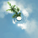 small planet, ocean, tropical island, palm trees 3D illustration
