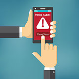 Virus on mobile phone concept.