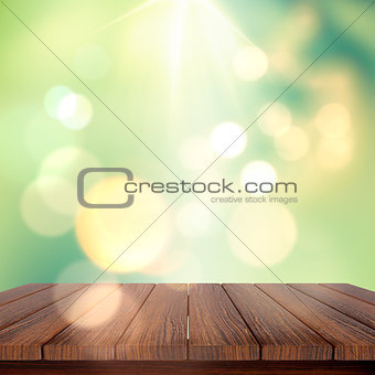 3D wooden table against a defocussed background