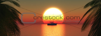 3D yacht on a sunset ocean