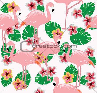 Flamingos Seamless Background