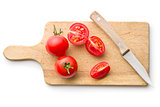 chopped tomatoes and knife