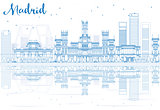 Outline Madrid Skyline with blue buildings reflections.