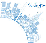 Outline Washington DC Skyline with Copy Space and Blue Buildings