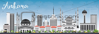 Ankara Skyline with Gray Buildings and Blue Sky.