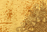 Floral Pattern on Wood Texture