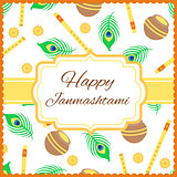 Happy Janmashtami card with Krishna flute isolated on white background.