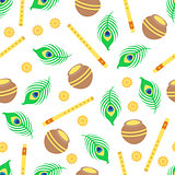 Seamless pattern with Krishna symbols