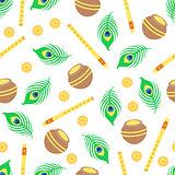 Seamless pattern with Krishna symbols