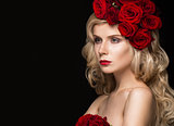 Beautiful blond girl in dress and hat with roses, classic makeup, curls, red lips. Beauty face.