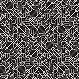 Vector Seamless Black and White Geometric Lines Irregular Pattern