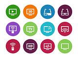 TV circle icons on white background.